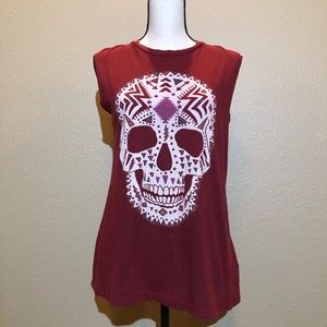 Truly Madly Deeply Red Muscle Skull top